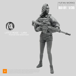 1:35 Tactical Girl Soldier with Barrett Rifle Resin Scale Figure DJJ-01 - Yufan Models Store