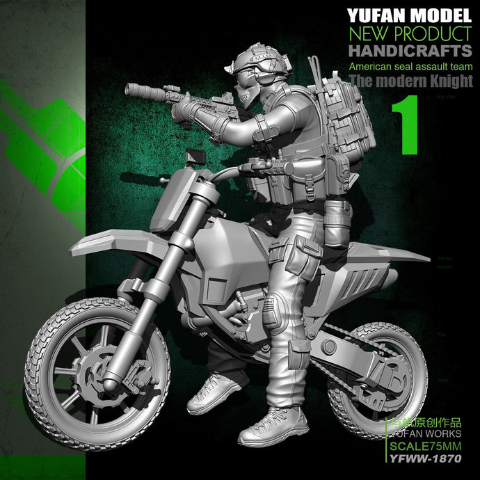 Yufan Model 75mm 1/24 Model Kit Motorcycle Resin Soldier YFWW-1870