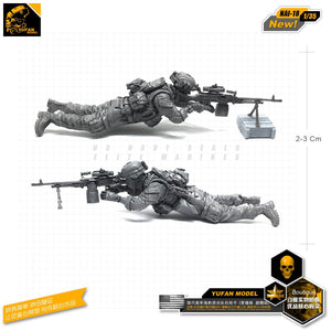 Yufan Model 1/35 Figure Model Kit Us Seal Machine Gun Shooter Resin Soldier Nai-18