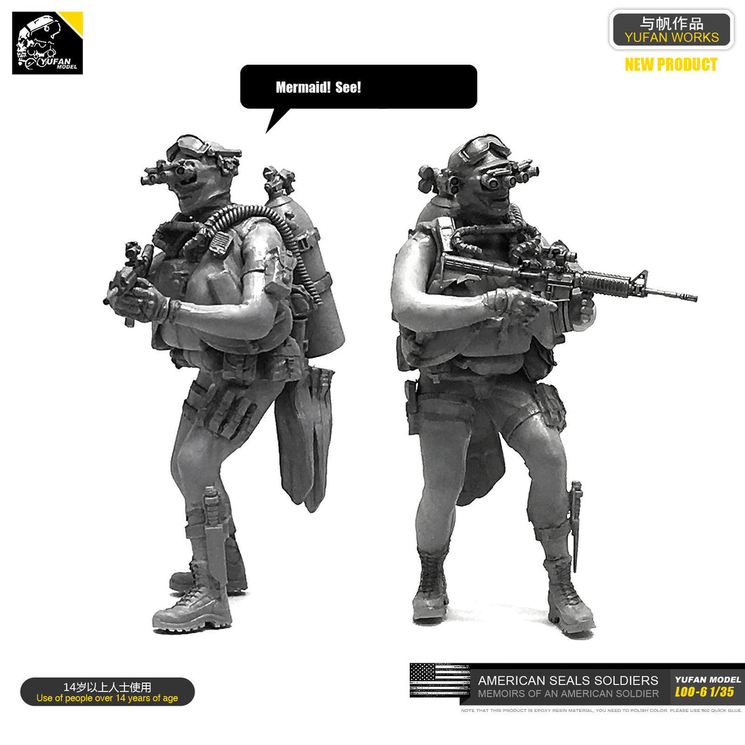 1:35 US Navy Seal Commando Scuba Diver Resin Scale Figure LOO-06