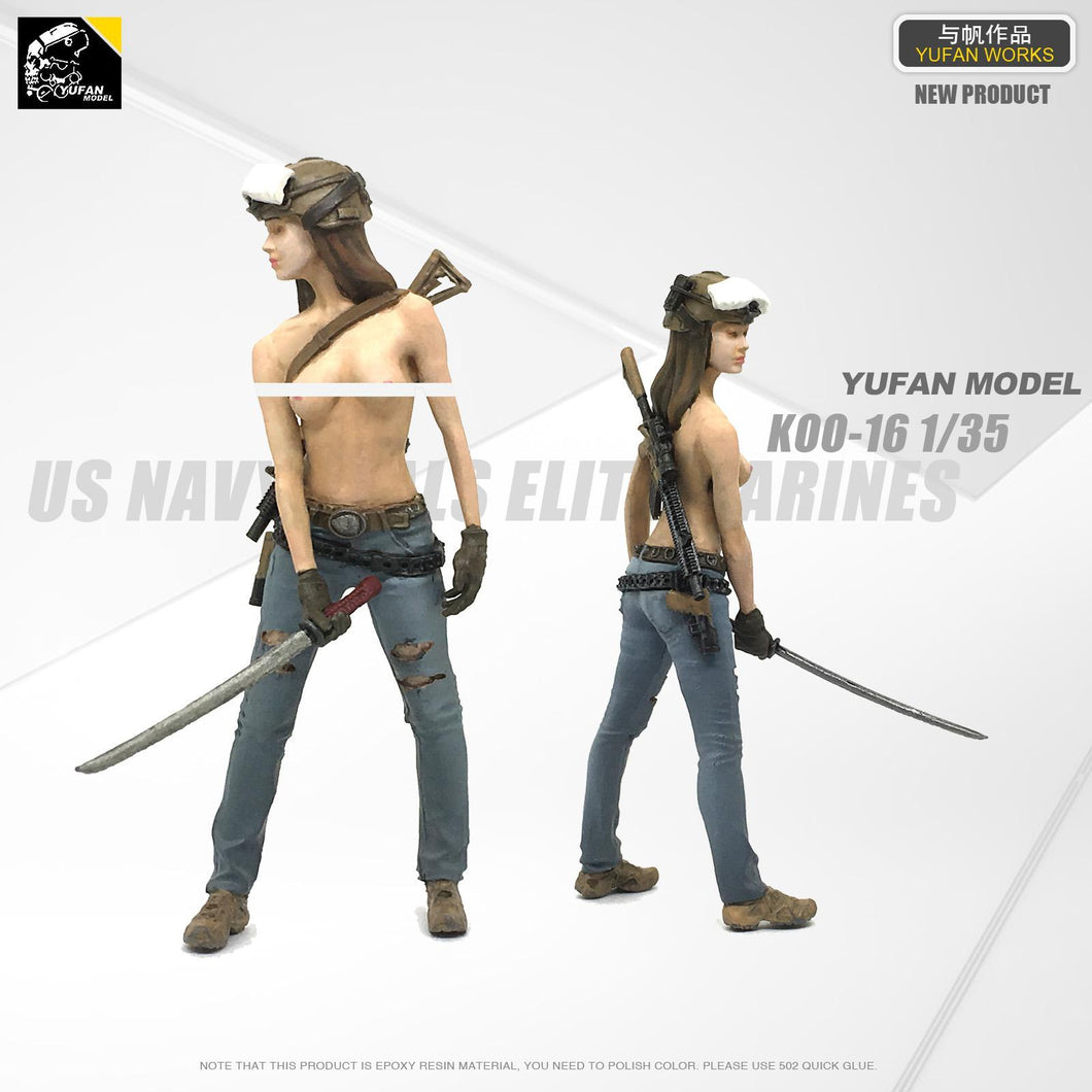 1:35 Tactical Girl with Katana Resin Scale Figure LOO-16 - Yufan Models Store