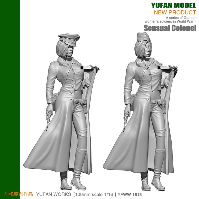 Yufan Model 1/18 Resin Kits Figure  Sexy Women Officers Resin Soldiers  90mm YFWW-1813