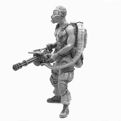 1:35 Postapocalypse Mini Gun Soldier with Gas Mask Resin Scale Figure A18-10 - Yufan Models Store