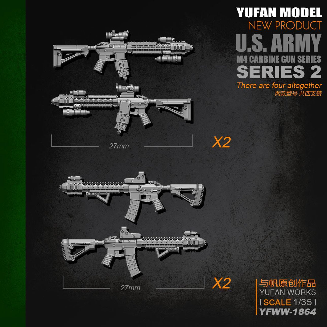 1:35 M4 Rifle Set-2 4 psc Resin Scale Accessories YFWW-1864 - Yufan Models Store