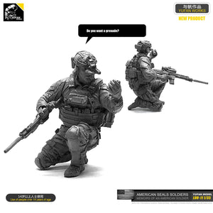 1:35 US Special Forces Soldier with SCAR-H and Hand Grenade Resin Scale Figure LOO-11