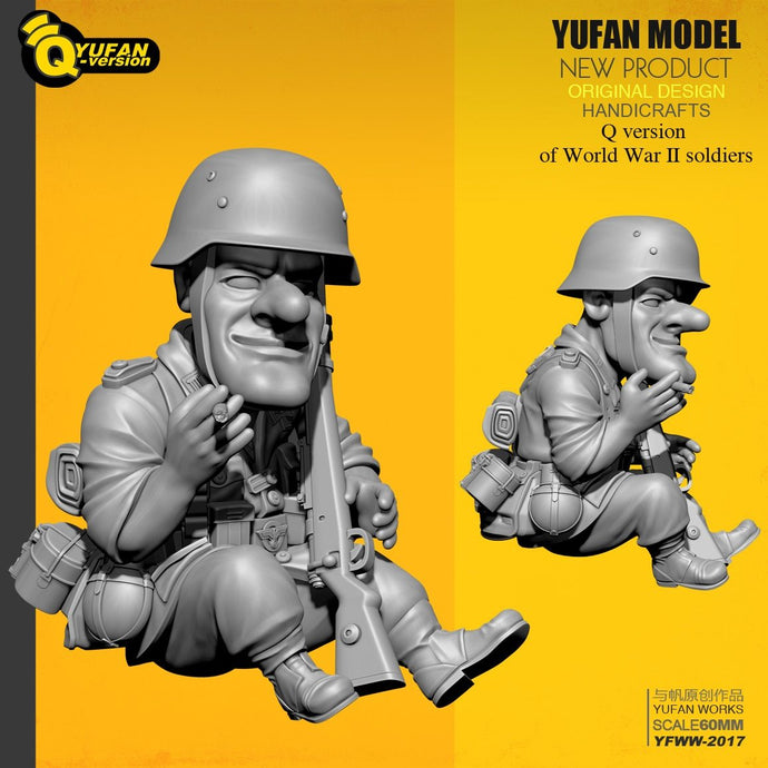 Yufan Model 1/35 Resin Soldier  Q version Figure Kits Yfww-2017
