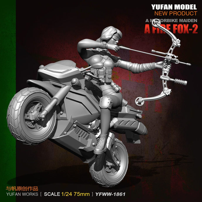 YuFan Model 1/24 75mm  Resin Soldier and motorcycle New Arrival None Unisex Model Kits YFWW-1861