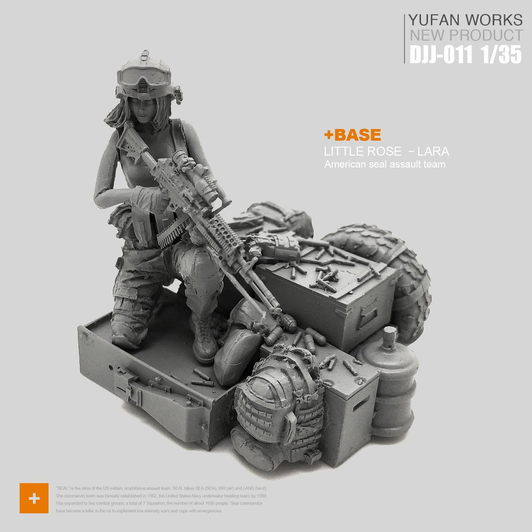 1:35 Tactical Girl Soldier with M249 and Weapon Boxes Resin Scale Figure DJJ-11 - Yufan Models Store