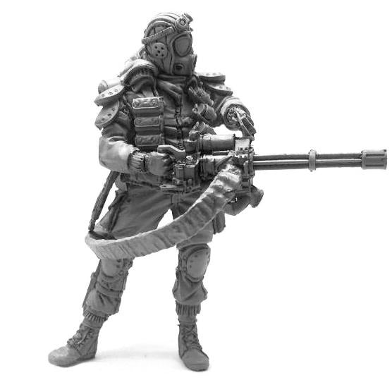 1:35 Heavy Armored Zombie Hunter with Mini Gun Resin Scale Figure YOY-02 - Yufan Models Store