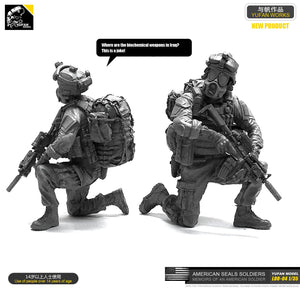 1:35 US Marines Soldier in Biohazard Protective Mask Resin Scale Figure LOO-04