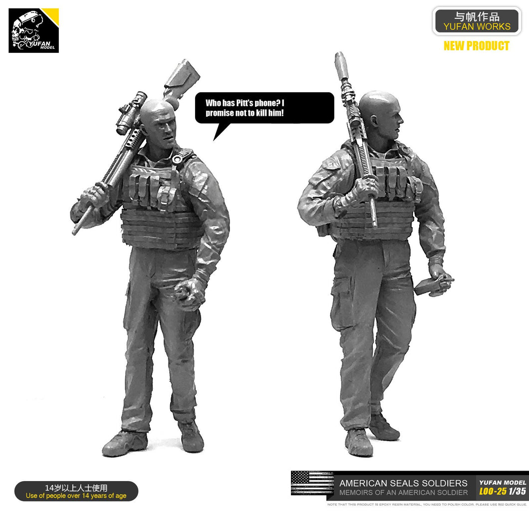 Yufan Model 1/35 Figure Model Kit  U.s. Seals Resin Soldier Unmounted Loo-25