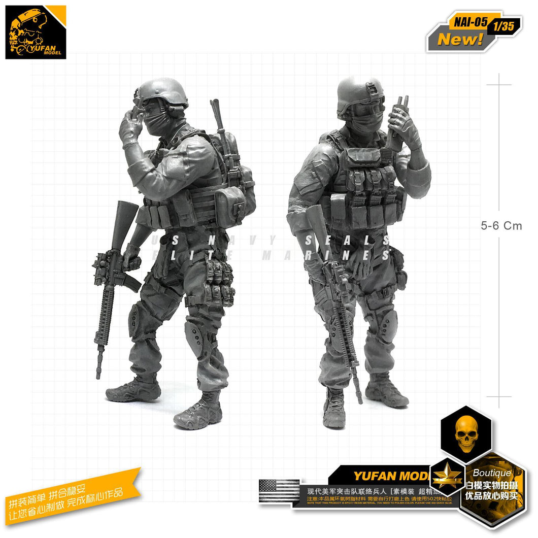 1:35 US NAVY Special Forces Modern Soldier with M16 and Radio Resin Scale Figure NAI-05 - Yufan Models Store