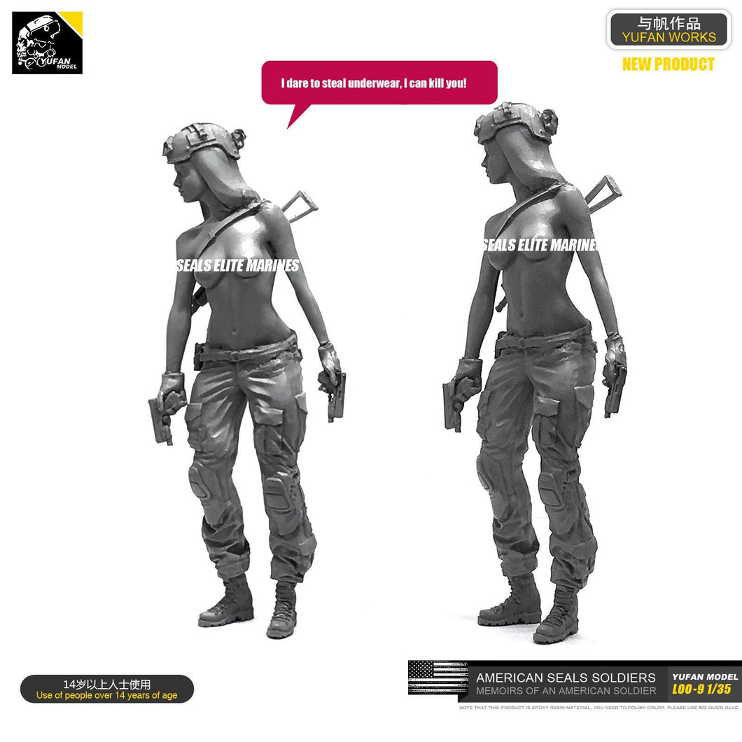 1:35 Sexy Tactical Girl with AK Resin Scale Figure LOO-09 - Yufan Models Store