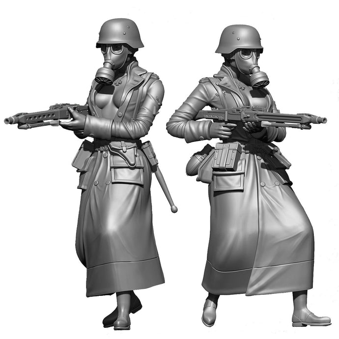 1:18 WWII German Woman Soldier with MG 42 Machine Gun Resin Scale Figure YFWW-1814 - Yufan Models Store