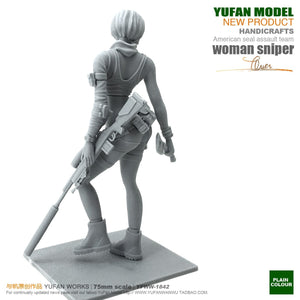 Yufan Mode 1/24 Soldier Model Sexy Female Sniper Resin Figure Kit 75mm colorless And Self-assembled Yfww-1842