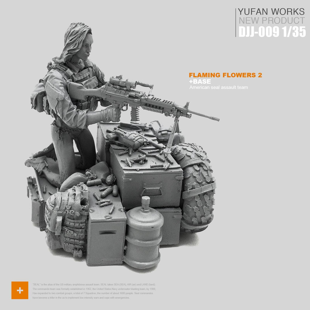1:35 Tactical Girl Soldier with Machine Gun M249 and Weapon Boxes Resin Scale Figure DJJ-09 - Yufan Models Store