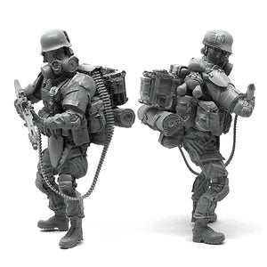 1:35 Post apocalypse Heavy MG 42 Machine Gunner Soldier Scale Resin Figure HONG-05 - Yufan Models Store