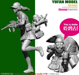 Yufan Model Originally 1/18 Figure Running Elves Eat Chicken To Resin Soldier YFWW-1816