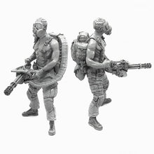Load image into Gallery viewer, 1:35 Postapocalypse Mini Gun Soldier with Gas Mask Resin Scale Figure A18-10 - Yufan Models Store