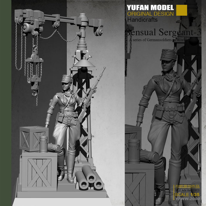 Yufan Model 1/35  Female Sniper + Platform Resin Soldier  Colorless and self-assembled YFWW-2000