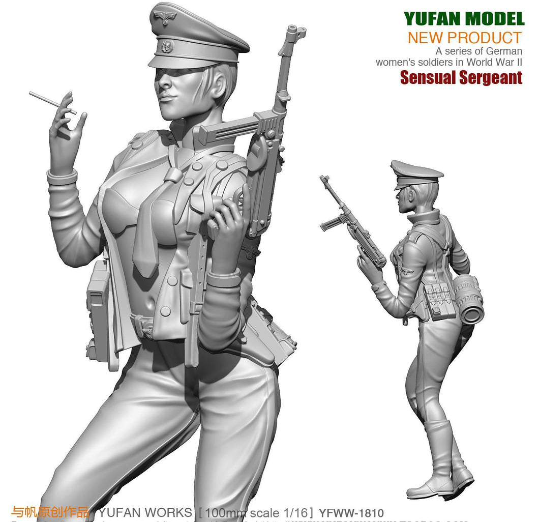 1:18 WWII German Female Officer with MP-40 Resin Scale Figure YFWW-1810 - Yufan Models Store