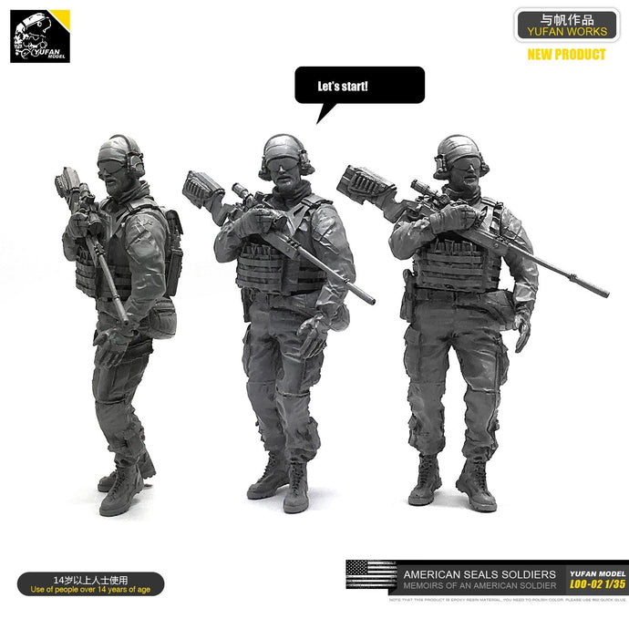 Yufan  Model 1/35 Figure Model Kit U.s. Seals Sniper Resin Soldier Unmounted Loo-02