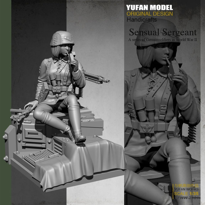 Yufan Model  1/35 Female Soldier+platform Resin Soldier Colorless and self-assembled Yfww-2001