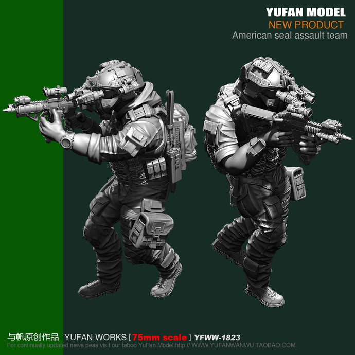Yufan Model 1/24 75mm Us Seals Resin Soldier Platinum Yfww-1823