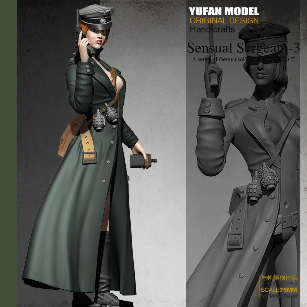 Yufan Model 1/24 Resin Kits  Resin Soldier  Women's Officer Colorless and Self-assembled 75mYfww-1998