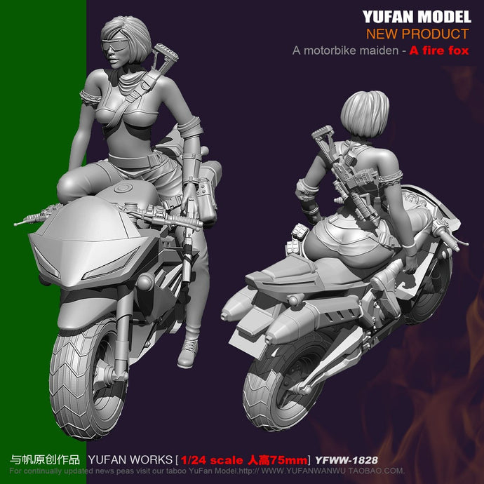 Yufan Model 1/24 Resin Model  Motorcycle Beauty Firefox Sexy Soldier Resin Figure Unmounted 75mm Yfww-1828