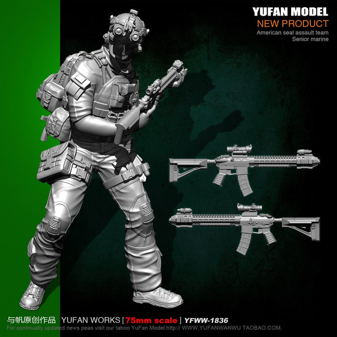 Yufan Model  1/24 Soldier Model 75mm Us Seals Ghost Face Resin Soldier Yfww-1836
