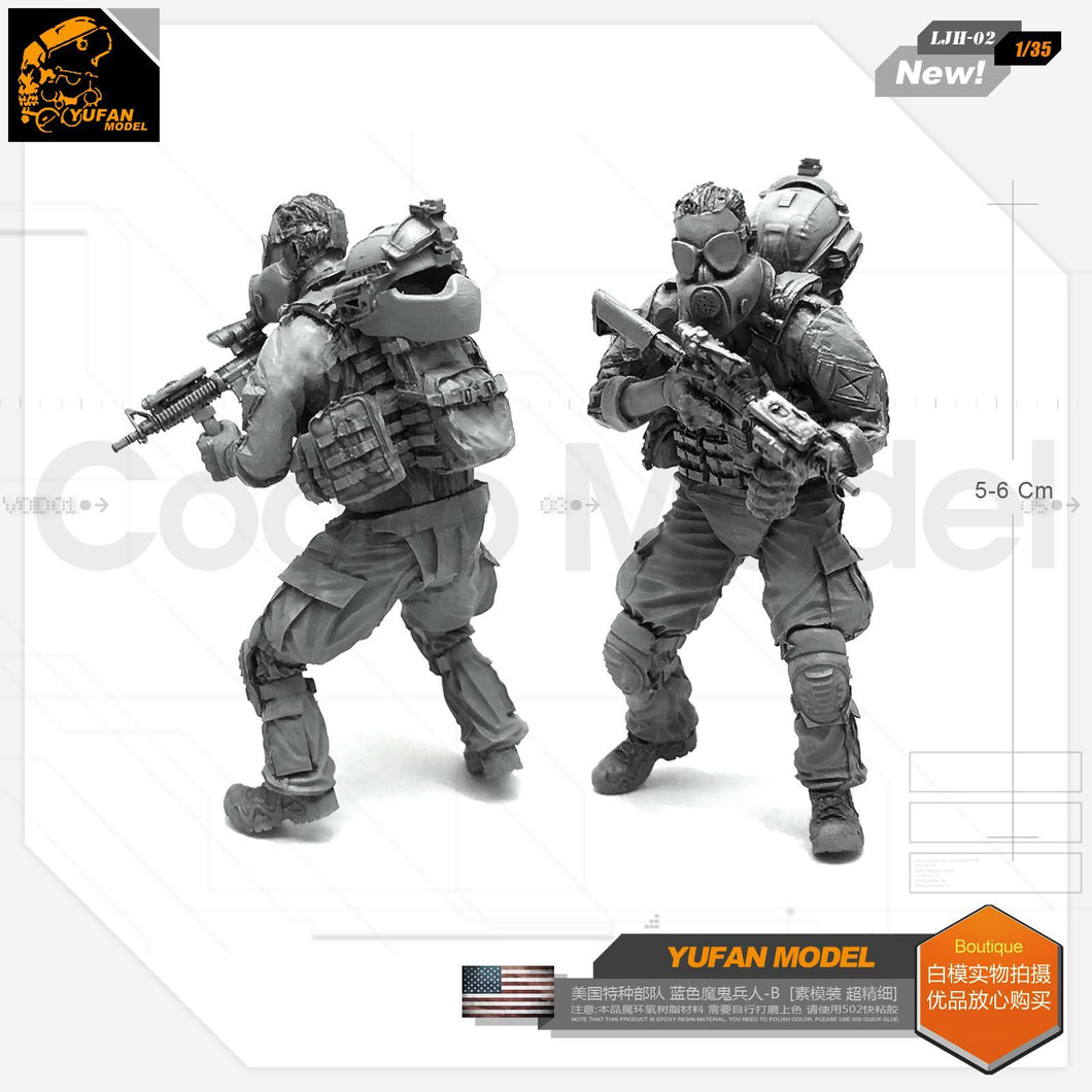 1:35 US Special Forces Marines Soldier W/ Bio Hazard Gas Mask Resin Scale Figure LJH-02 - Yufan Models Store