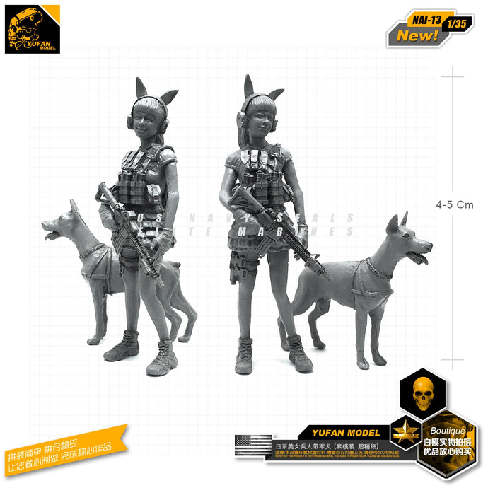 Yufan Model 1/35 Beauty Girls Figure And Dog Army Resin Soldier Model Kits Nai-13