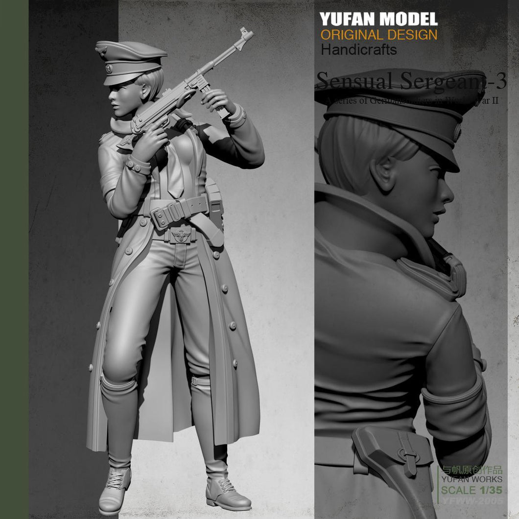 1:35 WWII German Female Officer with MP-40 Resin Scale Figure YFWW-2005 - Yufan Models Store