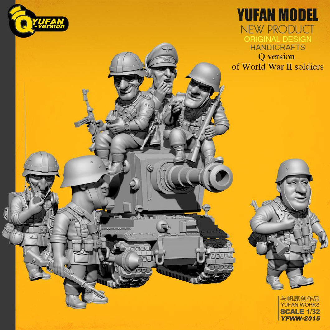 1:32 Q Version 6 pcs German Soldiers Plus Tank Set Resin Scale Models YFWW-2015 - Yufan Models Store