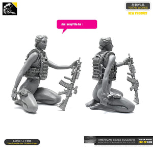 Yufan Model 1/35 Figure  Model Kit American Seal Commando Resin Female Soldier  Unmounted Loo-20