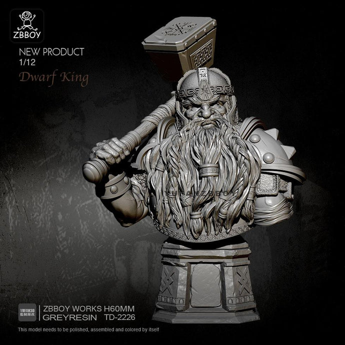 new 60mm Resin Bust Figure Kits Dwarf Warrior Resin Soldier Self-assembled TD-2226
