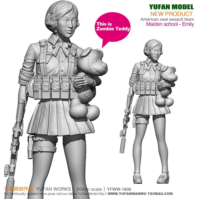 new Yufan Model 1/18 Resin Figure Beautiful girl in modern school uniform self-assembled YFWW-1806