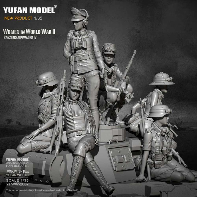 1/35 WWII German Africa Corps Female soldiers Set Pz.IV Crew Resin Scale Military Model YFWW-2067