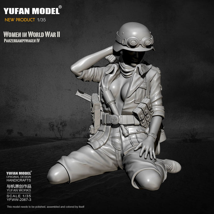1/35 Yufan model Resin Model Tank soldier beauty self-assembled  YFWW-2067-3