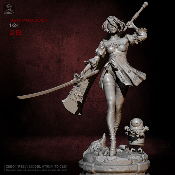75mm Resin Figure Kits 2B Beauty Model  Self-assembled TD-2320
