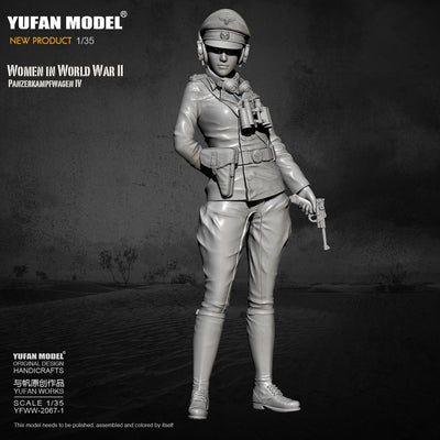 1/35 WWII German Africa Corps Female Tank Officer Pz.IV Crew Scale Resin Military Figure YFWW-2067-1