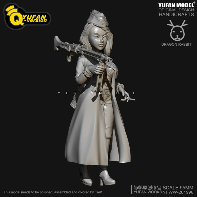 new H55mm Resin Figure KitsYufan Model Q version resin female soldier Self-assembled YFWW35-2059