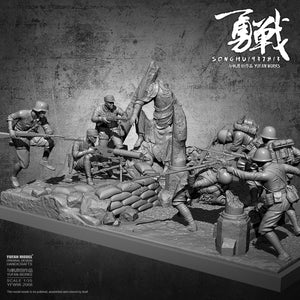YuFan Model 1/35 Resin figure model kits self-assembled YFWW-2068 (7 Soldier + platform full set)