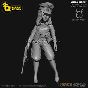 1:35 Q Version WWII German Female Colonel Resin Scale Figure H55mm YFWW35-2057 - Yufan Models Store