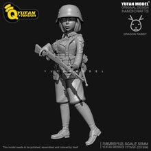 Load image into Gallery viewer, 1:35 Q Version WWII German Female Soldier Resin Scale Figure 55mm YFWW35-2058 - Yufan Models Store