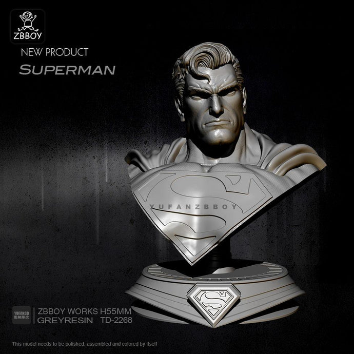 new 55mm Resin Bust Superman Bust Resin Soldier Model Self-assembled TD-2268