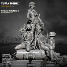 Load image into Gallery viewer, 1/35 WWII German Africa Corps Female soldiers Set Pz.IV Crew Resin Scale Military Model YFWW-2067