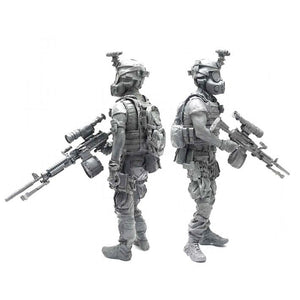1:35 US Marines Soldier with M240 Machine Gun and Gas Mask Resin Scale Figure BEE-05 - Yufan Models Store