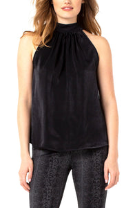 Sleeveless Mock Neck Tank with Neck Tie (More Colors Available)